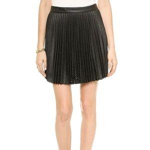 Club Monaco Pleated Leather Skirt